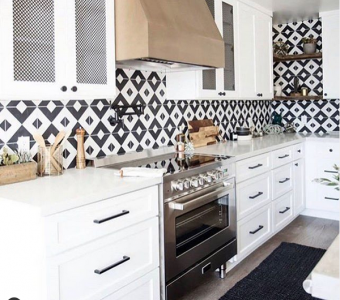 """Pattern Play - We are swooning over this bold and beautiful kitchen design featuring a Verona 36"""" Electric Range."""