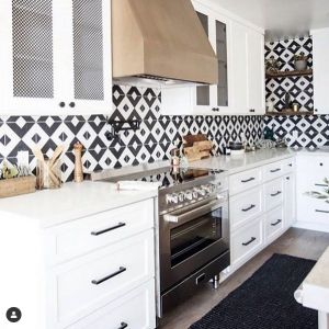 "Pattern Play - We are swooning over this bold and beautiful kitchen design featuring a Verona 36"" Electric Range."